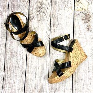 Nine | Black Leather Strappy Wedge Sandal Heels